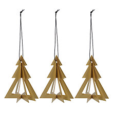Buy Livingly Geometric Trees Decorations, Pack of 3, Gold Online at johnlewis.com