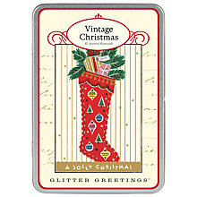 Buy Cavallini Christmas Stocking Postcard Tin, Pack of 12 Online at johnlewis.com