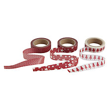 Buy John Lewis Printed Wrapping Tape, Set of 3, Red/White Online at johnlewis.com