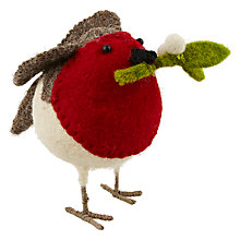 Buy Scandi-chic Robin with Holly Decoration, Small Online at johnlewis.com