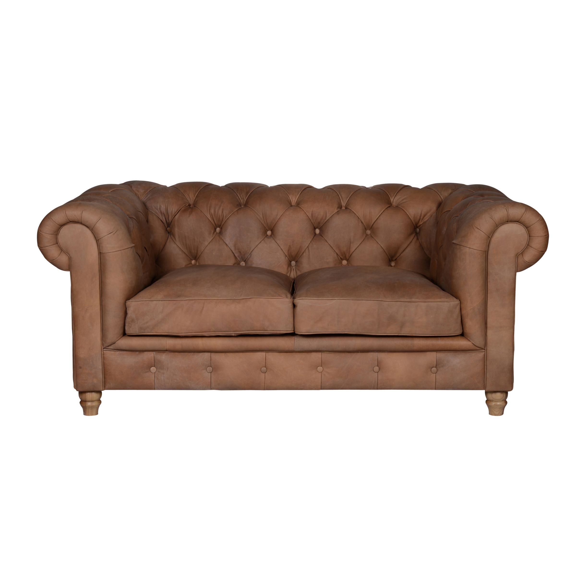 Halo Halo Earle Medium Chesterfield Leather Sofa, Destroyed Raw