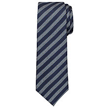 Buy Chester by Chester Barrie Satin Dash Stripe Tie, Navy/White Online at johnlewis.com