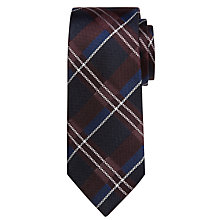 Buy Richard James Mayfair Heavy Plaid Tie, Navy/Burgundy Online at johnlewis.com