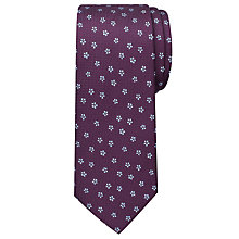Buy Chester by Chester Barrie Flower On Texture Tie, Burgundy Online at johnlewis.com