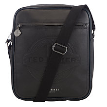 Buy Ted Baker Brodys Embossed Flight Bag, Black Online at johnlewis.com