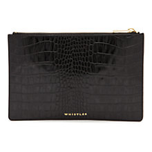 Buy Whistles Small Shiny Leather Croc Clutch Bag, Black Online at johnlewis.com