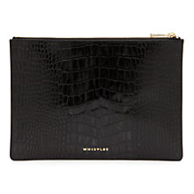 Buy Whistles Medium Shiny Leather Croc Clutch Handbag, Black Online at johnlewis.com