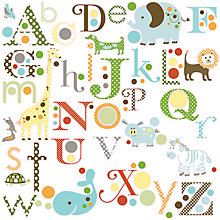 Buy Roommates Animal Alphabet Wall Stickers, Multi Online at johnlewis.com