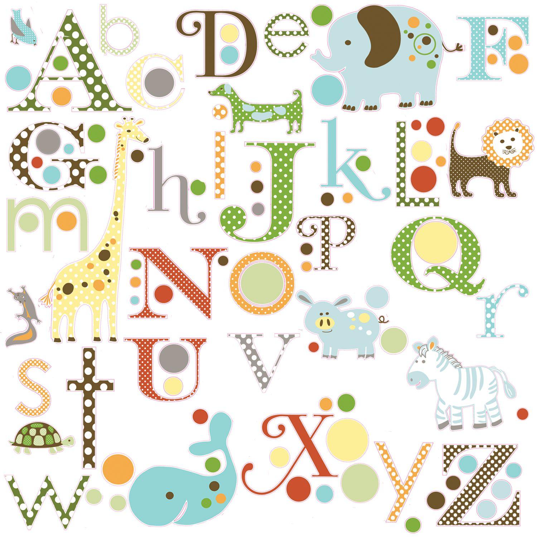 Roommates Roommates Animal Alphabet Wall Stickers, Multi