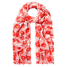 Buy Whistles Pansy Print Scarf, Coral Online at johnlewis.com