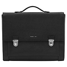 Buy Reiss Holt Pebbled Leather Briefcase, Black Online at johnlewis.com