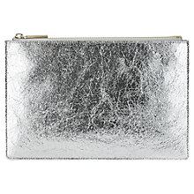 Buy Whistles Small Cracked Clutch, Silver Online at johnlewis.com