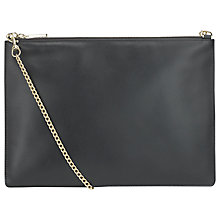 Buy Whistles Rivington Leather Silky Chain Clutch Handbag, Black Online at johnlewis.com