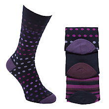 Buy Ted Baker Oving Spot & Stripe Socks, Pack of 3, Navy Online at johnlewis.com