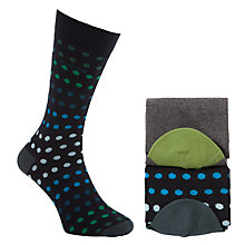 Buy Ted Baker Behatt Spot Socks Pack of 2, One Size, Black/Green/Blue Online at johnlewis.com