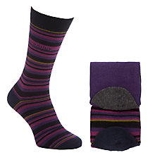 Buy Ted Baker Royton Stripe Socks, Pack of 2, One Size, Purple Online at johnlewis.com