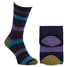 Buy Ted Baker Staxton Stripe Socks Pack of 2, One Size, Navy Online at johnlewis.com