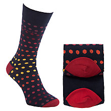 Buy Ted Baker Whiston Cotton Socks Pack of 2, One Size, Navy/Red/Yellow Online at johnlewis.com