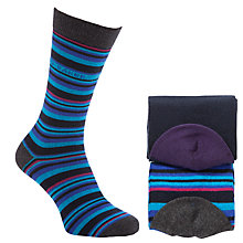 Buy Ted Baker Hattro Stripe Cotton Socks Pack of 2, One Size, Blue/Grey Online at johnlewis.com