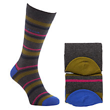 Buy Ted Baker Sawdon Striped Cotton Socks Pack of 2, One Size, Charcoal/Yellow Online at johnlewis.com