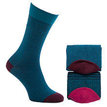 Buy Ted Baker Loflite Stripe Assorted Cotton Socks Pack of 2, One Size, Blue Online at johnlewis.com