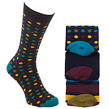 Buy Ted Baker Hunsdon Spot and Stripe Socks, Pack of 3, Navy Online at johnlewis.com