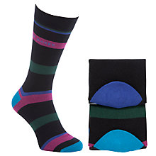 Buy Ted Baker Rhos Block Stripe Socks Pack of 2, One Size, Black Online at johnlewis.com