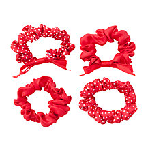 Buy John Lewis Spotted & Plain Hair Scrunchies, Pack of 4 Online at johnlewis.com