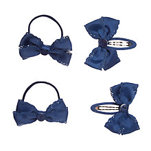 Buy John Lewis Girl Grosgrain Button Hair Set, Pack of 4, Navy Online at johnlewis.com