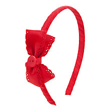 Buy John Lewis Girl Grosgrain Alice Band, Red Online at johnlewis.com
