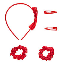 Buy John Lewis Girl Plain Hair Set, Red Online at johnlewis.com