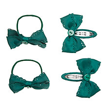 Buy John Lewis Girl Grosgrain Hair Set, Pack of 4, Green Online at johnlewis.com