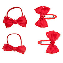 Buy John Lewis Girl Grosgrain Hair Set, Pack of 4, Red Online at johnlewis.com