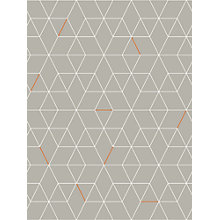 Buy House by John Lewis Grid Wallpaper, Smoke / Orange Online at johnlewis.com