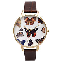 Buy Olivia Burton OB14WL30 Women's Wonderland Textured Leather Strap Watch, Dark Brown Online at johnlewis.com