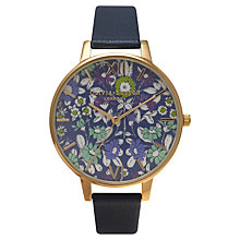 Buy Olivia Burton OB14EX32 Women's Parlour Daisychain Print Leather Strap Watch, Turquoise Online at johnlewis.com