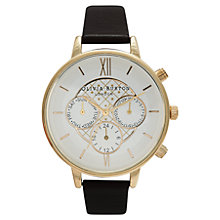 Buy Olivia Burton OB13CG02BC Women's Big Dial Leather Strap Day / Date Chronograph Watch, Black Online at johnlewis.com