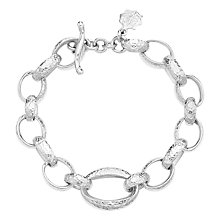 Buy Dower & Hall Hammered Chunky Oval Links Bracelet, Silver Online at johnlewis.com