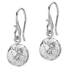 Buy Dower & Hall Beaten Sphere Drop Earrings, Silver Online at johnlewis.com