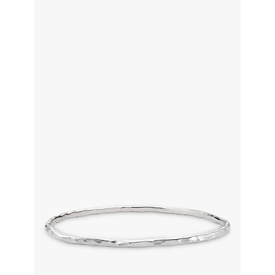 Dower & Hall 3mm Hammered Bangle, Silver