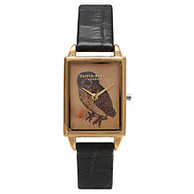 Buy Olivia Burton OB14WL32 Women's Woodland Rectangular Leather Strap Watch, Black Online at johnlewis.com