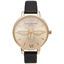 Buy Olivia Burton OB14AM36 Moulded Bee Watch, Black / Gold Online at johnlewis.com