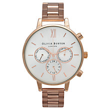 Buy Olivia Burton OB14CG32C Women's Big Dial Bracelet Strap Chronograph Watch, Rose Gold Online at johnlewis.com