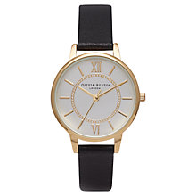 Buy Olivia Burton OB14WD04 Women's Wonderland Leather Strap Watch, Black Online at johnlewis.com