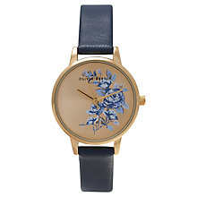 Buy Olivia Burton OB14PL11 Women's Parlour Floral Dial Leather Strap Watch, Navy / Gold Online at johnlewis.com