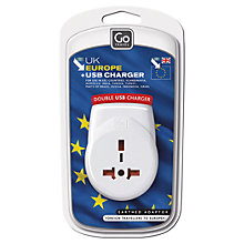 Buy Go Travel Continental USB Adaptor, White Online at johnlewis.com