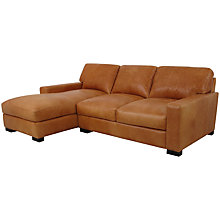 Buy John Lewis Bari LHF Leather Chaise End Sofa, Splendour Brittany Online at johnlewis.com