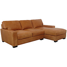 Buy John Lewis Bari RHF Leather Chaise End Sofa, Splendour Brittany Online at johnlewis.com