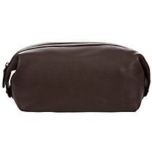 Buy Polo Ralph Lauren Pebble Leather Wash Bag, Brown Online at johnlewis.com
