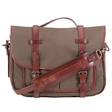 Buy Polo Ralph Lauren Leather Canvas Messenger Bag, Olive Online at johnlewis.com